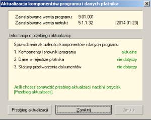 Aktualizacja kompononetów programu i danych płatnika
