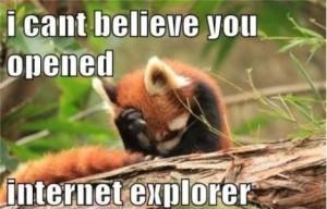 Ta mała panda czerwona nie może pogodzić się z tym, że wciąż używasz IE.