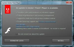 Okno aktualizacji Adobe Flash Player - często można je zobaczyć podczas rozruchu systemu.